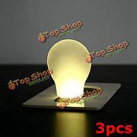 3шт портативный LED карта свет карманного фонаря кошелек аварийного освещения