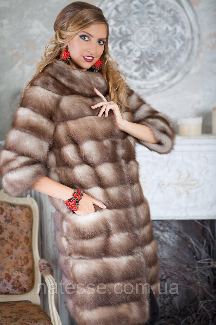 """Шуба полушубок жилетка из светлой куницы """"Земфира"""" marten fur coat jacket"""