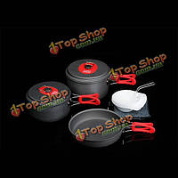 Outdoor Portable 2-3 Persons Cookware Portable Picnic Pan Pot Bowl Utensil Cooking Set