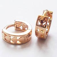 Серьги кольца с сердечками, ювелирная бижутерия Xuping Jewelry. Позолота 18К.
