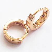 Маленькие серьги кольца, позолота 18К. Ювелирная бижутерия.