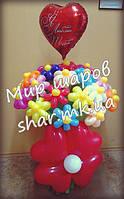 Большой букет из 31 цветка с гелиевым сердцем