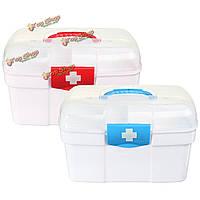2 слоя ящик для хранения пластиковых аптечке препарат первой помощи держатель комплект
