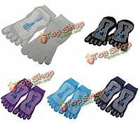 Эластичный хлопок Yoga Носок противоскользящие полный ног сцепление массаж фитнес кремния точки носка 5 цветов