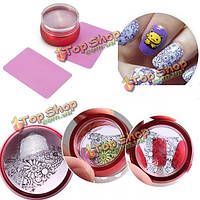 3шт скребок прозрачная пластина принтер печати ногтей металлический инструмент для ногтей Стампер штамповки силиконовые