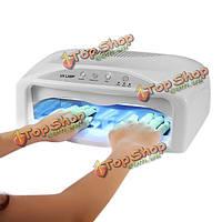 54W 2-рука ультрафиолетовая лампа вентилятор быстросохнущие салона акриловый гель лак для ногтей отверждения таймер легкий маникюр сушилк