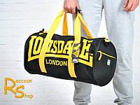 Спортивная сумка Lonsdale London (черная с желтыми буквами)