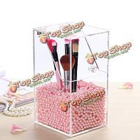 Акрил ясный контейнер пыле макияж кейс коробка для хранения косметических организатор щетка держатель