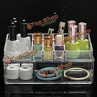 2 слоя акриловой случай ясный макияж косметический стенд дисплей организатор контейнер для хранения