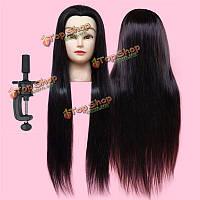 50% реального длинные прямые волосы практика 28-дюймов парикмахерского подготовки головой с зажимом 71см