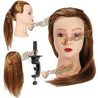 Золотой длинные прямые волосы обучение режущая головка практика манекена держатель зажима парикмахерское braidin