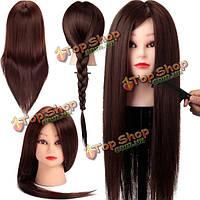 Коричневый 50% реальные человеческие волосы тренировки голова парикмахерского практика резки манекена держатель зажима