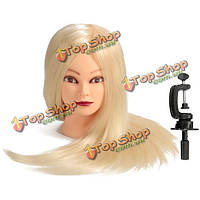 24 белый 80% реальная человеческая практика волосы голова манекена парикмахерского манекена зажим обучения