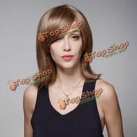 Remy моно человеческих волос блондинка среднего парик сторону взрыва курчавая волна девственницей топ монолитным 8 цветов 34см