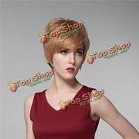 Леди короткой стороне прохладно прямые человеческие волосы парик Remy девственницы моно топ монолитным взрыва женщин 14 цветов