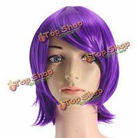 Унисекс аниме фиолетовый короткий полный парик партии Cosplay прямые волосы полные парики высокотемпературный Hairpiece