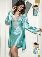 Шелковый комплект халат и ночная сорочка (пеньюар) Angel Story 3430