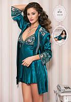 Шелковый комплект халат и ночная сорочка (пеньюар) Angel Story 8715