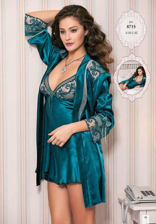 Шелковый комплект халат и ночная сорочка (пеньюар) Angel Story 8715  недорого. Цена со склада. 329f988c5396b