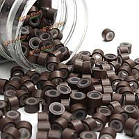 Микрокольца для холодного наращивания волос силиконовые коричневые 500шт