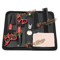 Профессиональные красные волосы ножницы комплект комплект салонных плоские зубчатые гребни для разжижения парикмахера сумка