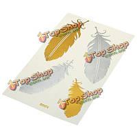 Этикетки татуировки золотые перья горячий металл штамповки временные татуировки передачи