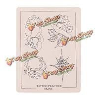 P005 цветок татуировка шаблон листа кожи моделирования практика