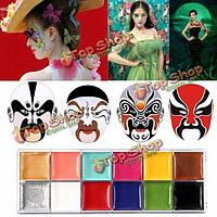 PRO 12 цветов боди-арт живопись маслом макияж косметическим яркий участник лица лицо с 4 кисти