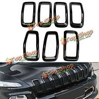 ABS черная передняя решетка украшают декоративную комплект крышки кольцо вставки для джипа Чероки 2014-2016