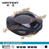Конвен- VAS-J22 360 градусов круг 4-портовый USB 2.0 хаб для сотовых телефонов Устройство чтения карт динамиков веб-камеры