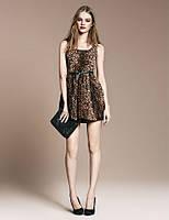 Платье INBDUE леопардовой расцветки под пояс AB90117