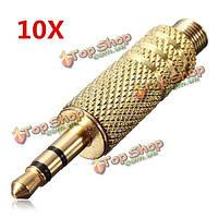 10X3.5мм помощью 3-х польных золотой мужской отремонтировать наушники аудио разъем разъем разъем