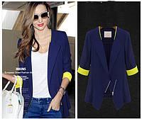 Пиджак синего цвета с нежно желтыми манжетами AB90144