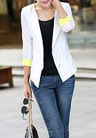 Белый пиджак на молнии с желтыми манжетами AB90145