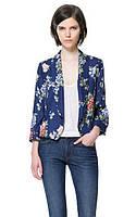 Оригинал. Распродажа. Пиджак ZARA синего цвета с цветочным принтом AB90142