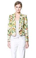 Бежевый пиджак ZAPA с цветочным принтом в зеленых тонах AB90154