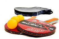 Теннис настольный T0116 (40шт) 2 ракетки+3 мячика,7 мм,в чехле 25*15см