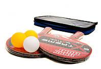 Теннис настольный T0115 (30шт) 2 ракетки + 3 мячика,7 мм, в чехле 25*15 см
