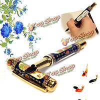 Jinhaoм СИБ авторучка перегородчатой синий и белый фарфор с penoy цветок золотой отделкой