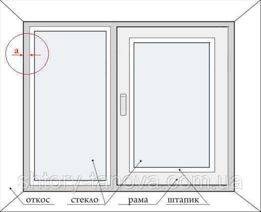 замер рулонных штор двухстворчатое окно