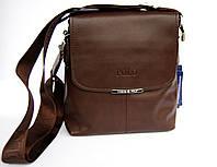 Красивая, мужская, коричневая сумка-планшет Polo Отличное качество. КС3