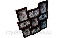 Рамка для фотографий на 9 фото, деревянная,  подарок для дома