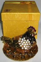 Шкатулка со стразами, прикольный сувенир (Курочка) 4 вида