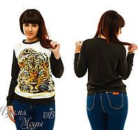 "Женская кофта, свитшот с нашивкой ""леопард"".  Батал 48, 50, 52, 54"