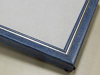 Рамка А4 (297х210).Рамка пластиковая 22 мм.Синий с серебрянной окантовкой.