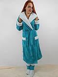 Длинный мягкий бирюзовый махровый халат (без сапожек), фото 2