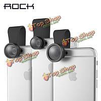 ROCK клип продлен рыбий глаз широкий угол макро съемный объектив камеры для Samsung iPhone Xiaomi