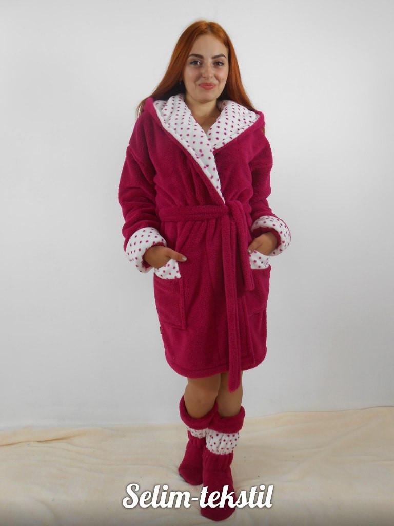 Махровый бардовый халат + с сапожками