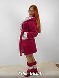 Махровый бардовый халат + с сапожками, фото 2