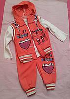Костюмчик для девочки (кофта+штаны+жилетка )на 12мес
